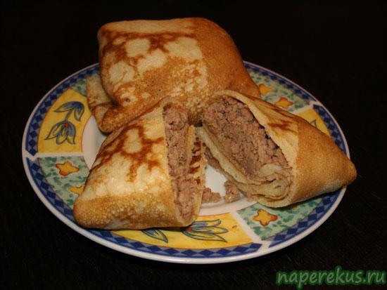 Блинчики вареным мясом рецепт фото