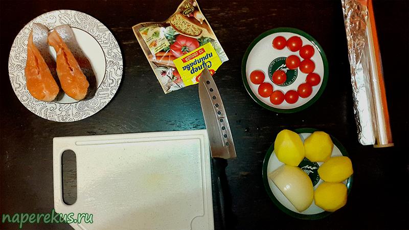 Запечённая форель с картофелем - Ингредиенты