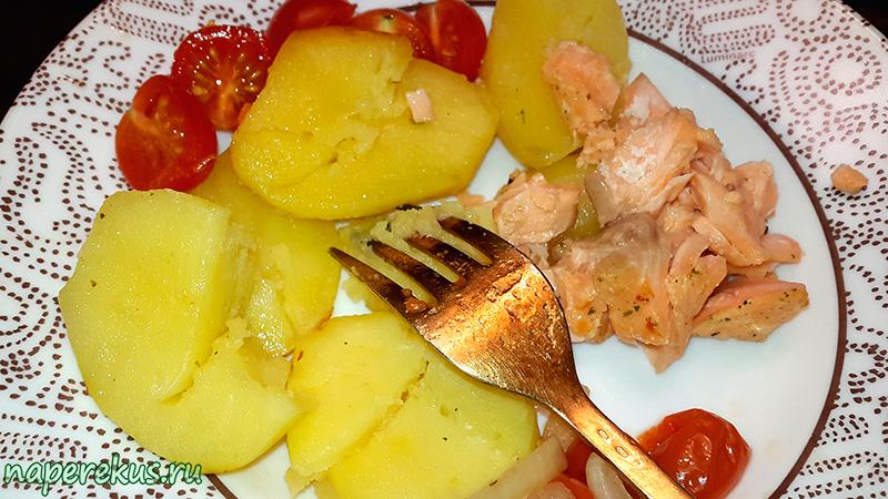 Запечённая форель с картофелем №6
